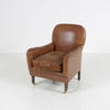 Distressed Brown Leather Xot Club Chair On Turned Legs