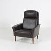 60's Brown Leather High Back Lounge Chair On Wooden Feet