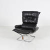 High Back Falcon Black Leather Chair On Tubular Chrome Base