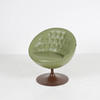Green Leather Button Pod Chair On Fiberglass Tulip Base