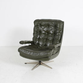 Green Leather Buttoned Chrome Frame 60's Swivel Armchair