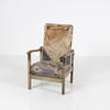 Aged Wood Frame Tatty Grey Floral Fabric Oap Lounge Chair