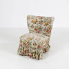 Low White & Floral Valance Cover Bedroom Chair