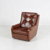 Two Tone Brown Leather Buttoned Armchair