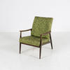 Paisley Green Upholstered Stained Beech Frame Armchair