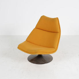 Low Mpf Orange Geoffrey Harcourt Lounge Chair On Disc Base
