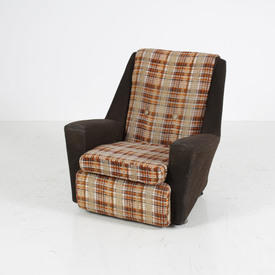 70's Brown And Orange Checkered Armchair