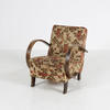 Aged Walnut Frame Curved Arm Leaf Patt Arm Chair