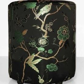 "Circ. Footstool 18"" x 16"" x 16"" Black Oriental Birds & Flowers"