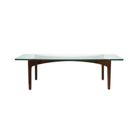 Danish Wood Coffee Table with Rect Glass Top