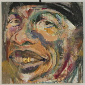 S.S Square Abstract Canvas Of Man With Gold Teeth (61 Cm X 61 Cm) ((Figure))