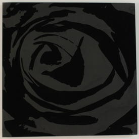 Black Flock Square Rose Picture (92 Cm X 92 Cm) ((Flower))