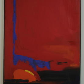 L.G Black Framed Red & Blue Abstract Painting (97 Cm X 124 Cm)