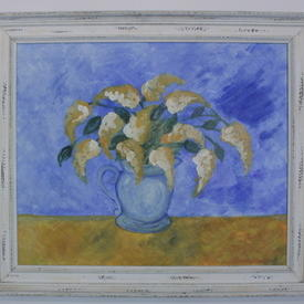 Aged White Wooden Moulded Flowers In Blue Vase Painting (87cm X 75cm )