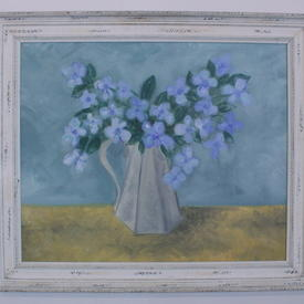 White Aged Moulded Frame Blue Flower In Grey Jug Painting (87cm X 75cm )
