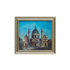 Aged Silver Framed Building Picture (38cm X 35cm ) ((Cityscape))