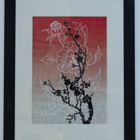 Black Framed White, Red & Black Flower Picture (35cm X 45cm )