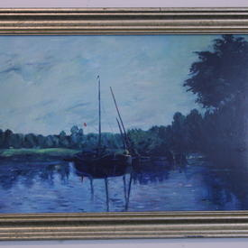 Aged Silver Framed Fishing Boats Picture (46cm X 32cm ) ((Fish))