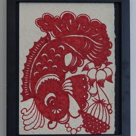 Black Framed Picture Of Red Fish On Cream Background (33cm X 27cm) ((Fish))