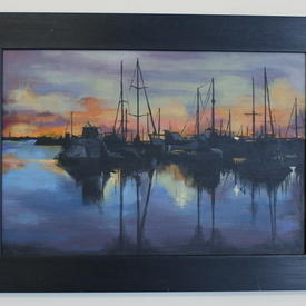 Black Framed Blues/Black Boats In Harbour At Night  Painting (41cm X 56cm)