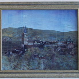 Gold Wooden Framed Church Painting (43cm X 36cm)