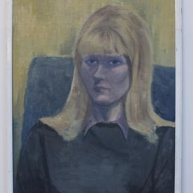 White Framed Sad Faced Lady Portrait On Canvas (58cm X 75cm)