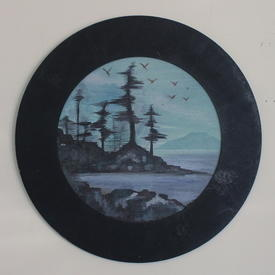Black Circular Framed Seascape Painting (58cm X 58cm)