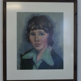Portrait Of Woman In Green Shirt In Wooden Frame (46cm X 53cm) ((Figure))
