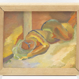 Pale Wood Frame ' Women Sleeping In Doorway ' Painting (30 Cm X 25 Cm )