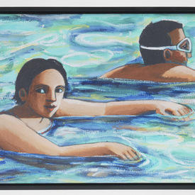 Black Framed Swimming Pool Paintng (88cm X 60cm)