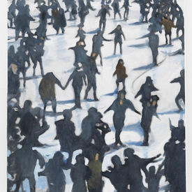 Small 'crowd Ice Skating ' Painting ( 61 Cm X 77 Cm )