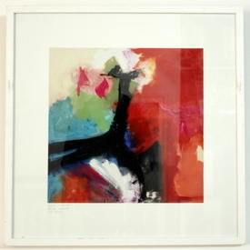 S.S Square White Framed Red & Black Abstract Print (63 Cm X 63 Cm)