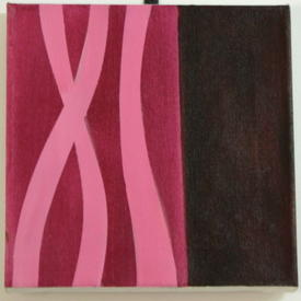 H.B Square Brown Block Canvas With 2 Tone Pink Ribbon Patt. (31cm X 31cm)