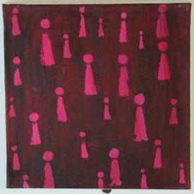H.B Square  Aubergine & Pink Abstract Figures Canvas (31cm X 31cm)