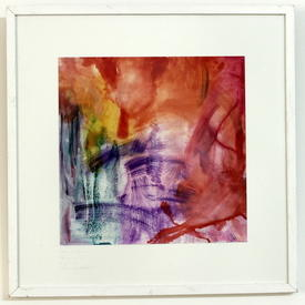 S.S Square White Framed Orange, Red & Purple Abstract Print (63 Cm X 63 Cm)