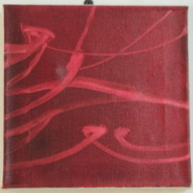 H.B Square 2 Tone Maroon Abstract String Pattern Canvas (31cm X 31cm)