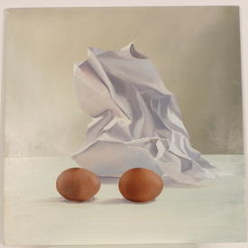 H.B Square Abstract Paper & Eggs Painting (60cm X 60cm)