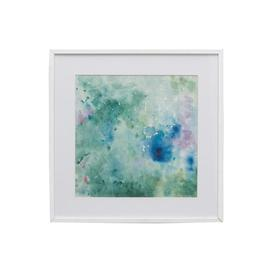 Square Green, Pink & Blue 'pisa' Abstract Flower Picture In White Frame (33cm X 33cm)