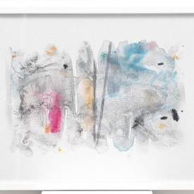 Blue, Pink & Yellow 'misterio 1' Abstract Picture In White Frame (63cm X 43cm)