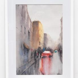 Cityscape 'red Car' Painting In White Frame (63cm X 43cm)