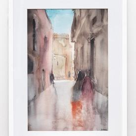 Cityscape Painting In White Frame (63cm X 43cm)