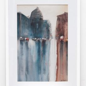 Blue & Brown Cityscape Painting In White Frame (63cm X 43cm)