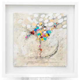 Coloured Abstract 'Up' Picture in White Frame (86Cm X 86Cm)