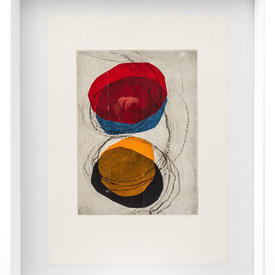 Red, Orange, Blue & Black 'Eclipse Ii' Abstract Picture in White Frame (90Cm X 70Cm)