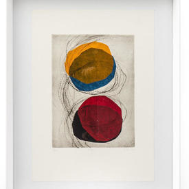 Red, Orange, Blue & Black 'Eclipse I' Abstract Picture in White Frame (90Cm X 70Cm)