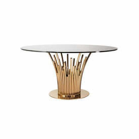 Rose Gold Tube Base Dining Table with Circ Black Glass Top