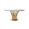 Rose Gold Tube Base Dining Table With Circ Black Glass Top (135cm X 75cm H)