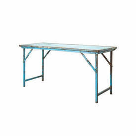 Blue Aged Metal Trestle Dining Table