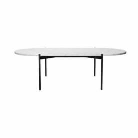 "Oval White Marble ""Plateau"" Coffee Table on Black Legs"
