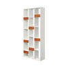 "White ""Book Form"" Shelving Unit With 7 Walnut Drawers ( H: 204cm W: 90cm D: 30cm )"